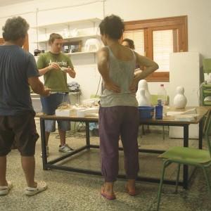 En verano  Cabo de Gata para hacer escultura